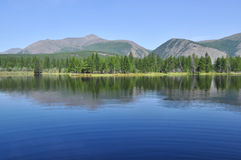 Scenery of the lake and reflections of the mountains Stock Image