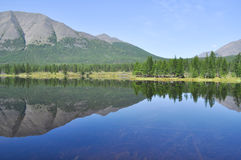 Scenery of the lake and reflections of mountains Royalty Free Stock Image