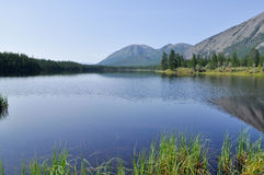 Scenery of lake and reflections of  mountains Stock Photos