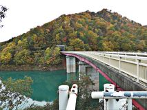 Scenery of leaves color change and turquoise water in Japan. stock images