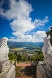 The scenery of Mae Hong Son town,Chong Kham Lake,the airport and forested hills of Burma as seen from Wat Phra That Doi Kong Mu,Ma. Wat Phra That Doi Kong Mu is Stock Images