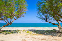 Scenery of Maleme beach on Crete Stock Image