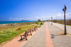 Scenery of Maleme beach on Crete Stock Images