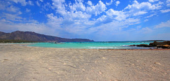 Scenery of Maleme beach on Crete, Greece. The beautiful scenery of Maleme beach on Crete, Greece Stock Images