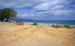 Scenery of Maleme beach on Crete, Greece. The beautiful scenery of Maleme beach on Crete, Greece Royalty Free Stock Image