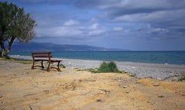 Scenery of Maleme beach on Crete, Greece. The beautiful scenery of Maleme beach on Crete, Greece Stock Photos