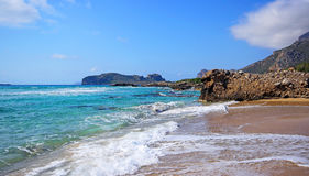 Scenery of Maleme beach on Crete, Greece. The beautiful scenery of Maleme beach on Crete, Greece Stock Photography
