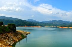 Scenery of man made lake at Sungai Selangor dam during midday.  Royalty Free Stock Images