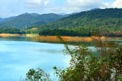 Scenery of man made lake at Sungai Selangor dam during midday Royalty Free Stock Image