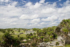 Scenery with Mayan ruins royalty free stock photo