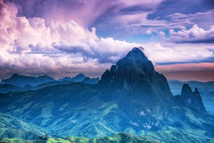 Scenery with mountain peaks. Stock Photo