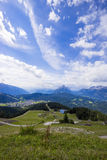 Scenery in the mountains. With green hills and village Royalty Free Stock Image