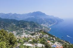 Scenery with mountains and Tyrrhenian sea in Ravello village. Amalfi coast, Italy Stock Images