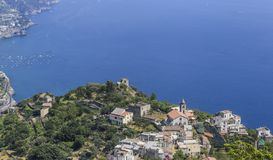 Scenery with mountains and Tyrrhenian sea in Ravello village, Am. Alfi coast, Italy Stock Photos