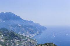 Scenery with mountains and Tyrrhenian sea in Ravello village. Amalfi coast, Italy Royalty Free Stock Photo