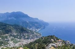 Scenery with mountains and Tyrrhenian sea in Ravello village. Amalfi coast, Italy Royalty Free Stock Photography