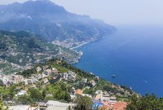 Scenery with mountains and Tyrrhenian sea in Ravello village. Amalfi coast, Italy Royalty Free Stock Photos