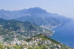 Scenery with mountains and Tyrrhenian sea in Ravello village. Amalfi coast, Italy Stock Photo