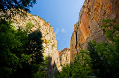 Scenery from The Narrows hike at Zion National Park. Royalty Free Stock Photography