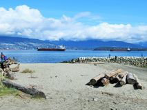 Scenery of Northshore mountains and sea at Jericho Beach, Vancouver, April 2018. Bright scenery of Northshore mountains and sea at Jericho beach, Vancouver Stock Images