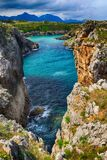 Scenery with the ocean shore in Asturias, Spain Stock Image