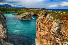Scenery with the ocean shore in Asturias, Spain Royalty Free Stock Images
