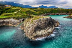 Scenery with the ocean shore in Asturias, Spain Royalty Free Stock Image