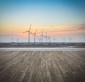 The scenery of offshore wind farms Stock Photos
