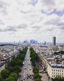The Champs Elysees in Paris, leading to La Defense. The scenery of Paris, captured from the Arc de Triomphe Royalty Free Stock Photo