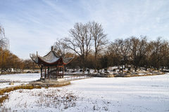 Scenery of a park in winter Royalty Free Stock Images