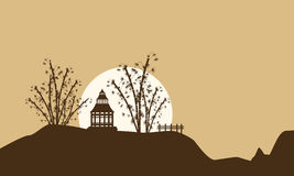 Scenery of pavilion with big moon silhouettes. Vector art Royalty Free Stock Photo