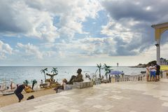 Scenery for photography on the stairs to the beach on the Gorky embankment in the resort town