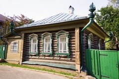 Scenery of Plyos town in Ivanovo Region in Russia. Tipical wooden house in russian style in autumn Plyos on a sunny afternoon, Russia, Ivanovo Region royalty free stock photography