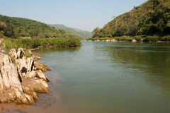 Scenery river Nam Ou in Laos Royalty Free Stock Photo