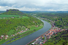 Scenery with River, town and mesa Royalty Free Stock Image
