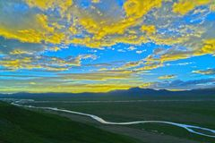 Scenery. Rivers and grasslands under the sky Royalty Free Stock Images