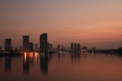 Scenery Riverside. Sunset scenery by the Chao Phraya riverside (Bangkok City, Thailand Royalty Free Stock Images