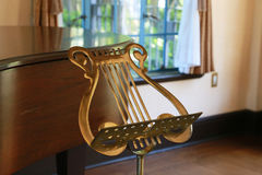 Scenery of the room with the music stand. Of the music sign Royalty Free Stock Photography