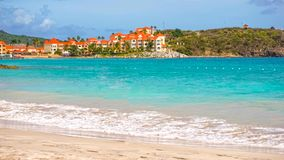 Scenery from Saint Martin`s Beach in Caribbean Royalty Free Stock Images