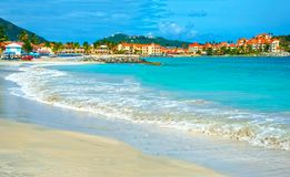 Scenery from Saint Martin`s Beach in Caribbean Stock Images