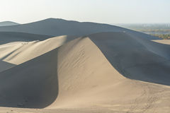 Scenery of sand dunes in Dunhuang Stock Photo