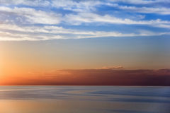 The scenery on the sea of Azov. The Sunset on the horizon of the sea of Azov Stock Photography