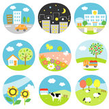Scenery set. Scenery icon set, building trees school and flowers cars Stock Photo