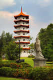 Pagoda And Confucius Statue. A Scenery on Singapore Chinese Garden Royalty Free Stock Photos