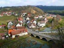 Scenery of small European town beside the river Stock Photo