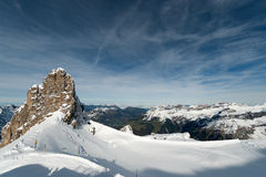 Scenery of snow covered mountains valley Titlis, Engelberg Royalty Free Stock Photography