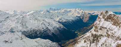 Scenery of snow covered mountains valley Titlis, Engelberg Stock Photo