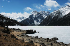 Scenery of snow mountains Stock Photography