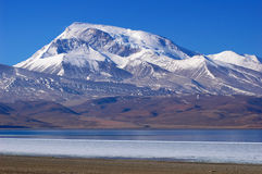 Scenery of snow mountains and blue lake in Tibet Royalty Free Stock Images
