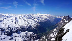 Scenery of snow mountains valley Titlis Royalty Free Stock Photo